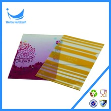 2016 custom office clear printing A4 size L-shape pp plastic pockets file folder
