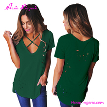 Wholesale Green Ripped Hole V Neck Woman 100% Cotton T-Shirt