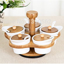 revolving lazy susan spice set, ceramic spice jars & spoons with bamboo racks wholesale