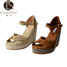Promotional Top Quality Camel Beige Cow Leather Cross Strap Wedges Women High Heel Woman Ladies Beach Sandals Wedge