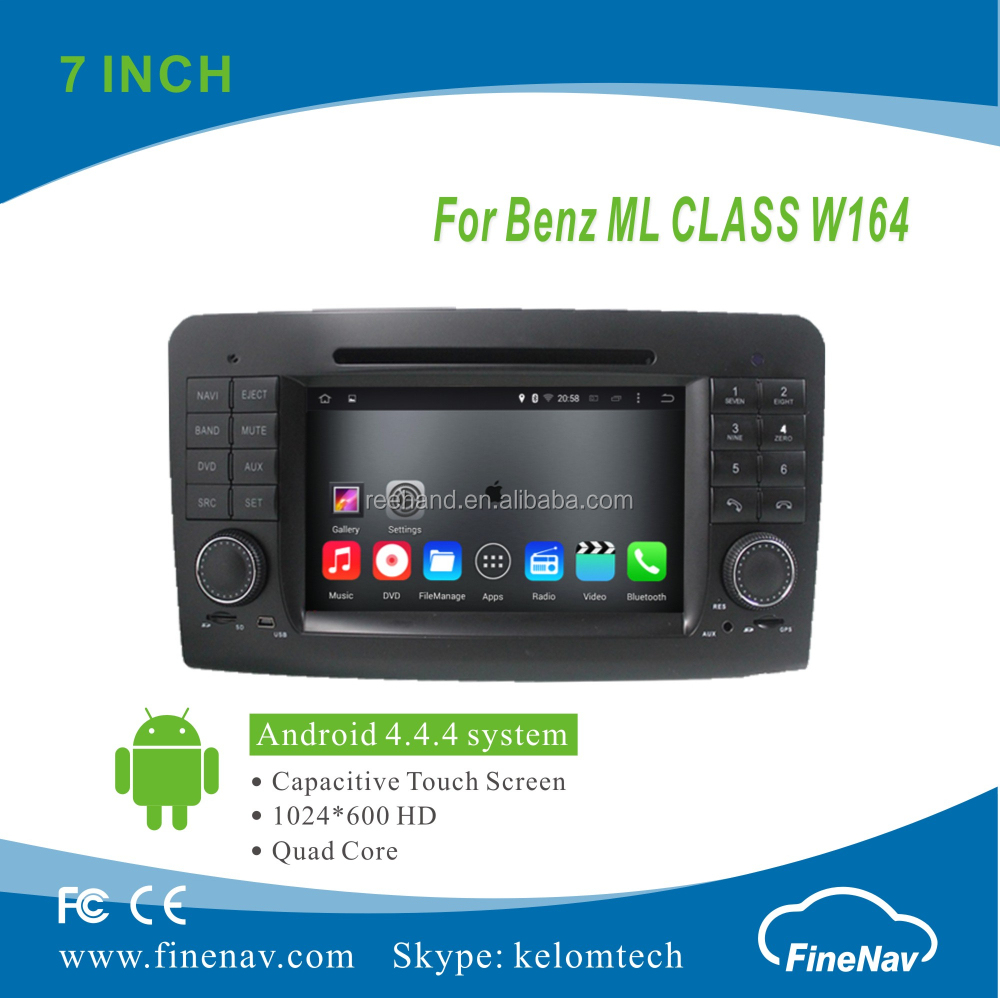 "7"" 2Din Android 4.4.4 Car <strong>DVD</strong> player with Quad-core HD 1024*600 Resolution 16GB Flash Mirror Link BT forBenz ML CLASS <strong>W164</strong>"