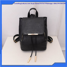 Black Color Toothpick Grain Backpack PU Leather Double Zipper Grils Backpack Bags