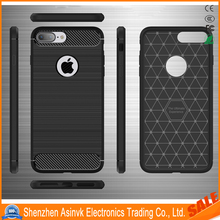 Wire Carbon Fiber Case Wire Drawing Shockproof Protective Silicone Case for iPhone 7 Plus