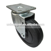 Swivel 5 inch hard rubber caster wheel plate type fixed caster wheel
