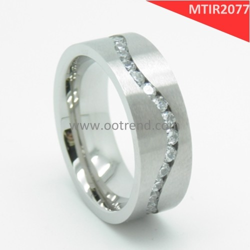 Grade 2 Pure TI S shaped cubic zirconia inlaid engagement ring band