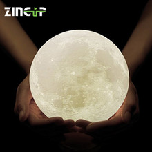 New Products LED Portable Desk Rechargable Night Light 3D Print Moon Lamp