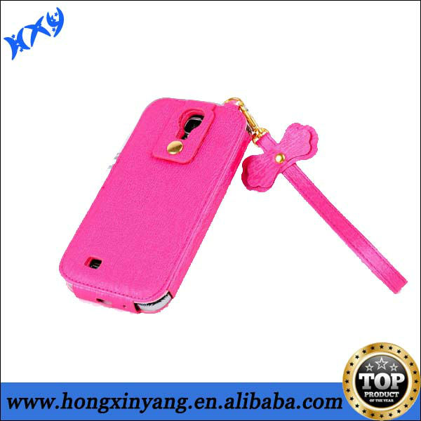 wholesale galaxy s4 leather case with beautiful bowknot design