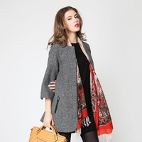 New winter fashion minimalist silhouette loose woolen coat jacket and long sections