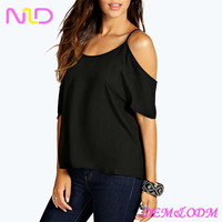 women off shoulder plain black tops
