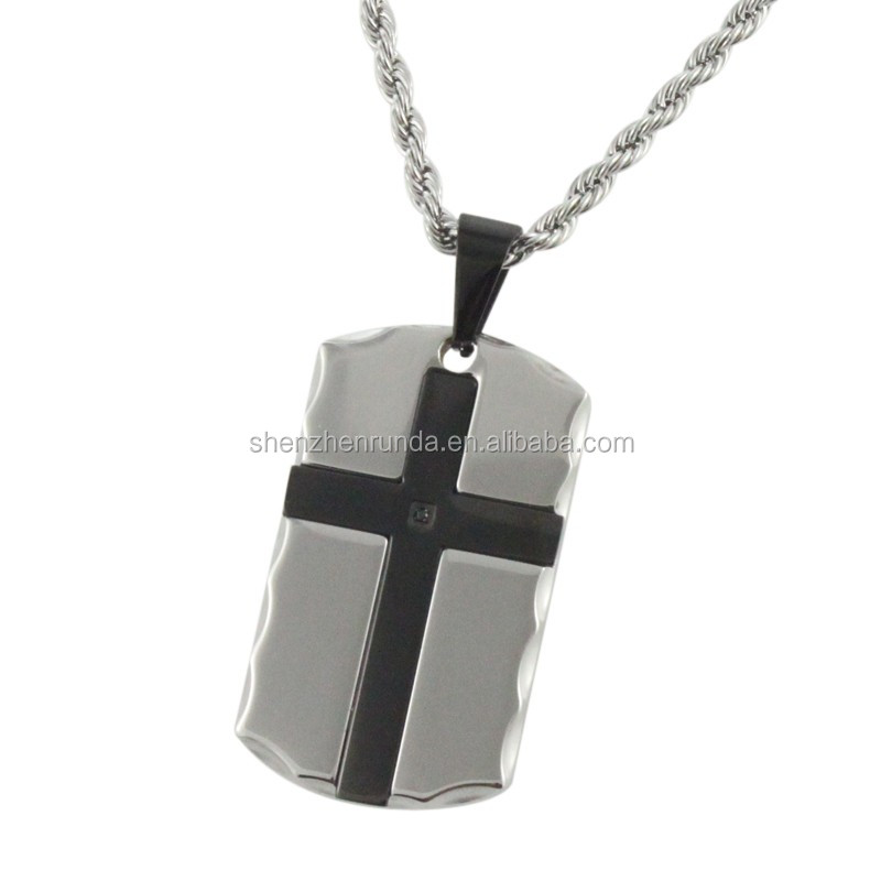 Wholesale 2016 Men's Stainless Steel Jewelry Cross Pendant Necklace with Rhinestone
