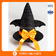 Wholesale Halloween Bat wings Yellow Bowknot Decoration Funny Witch Hat For Children