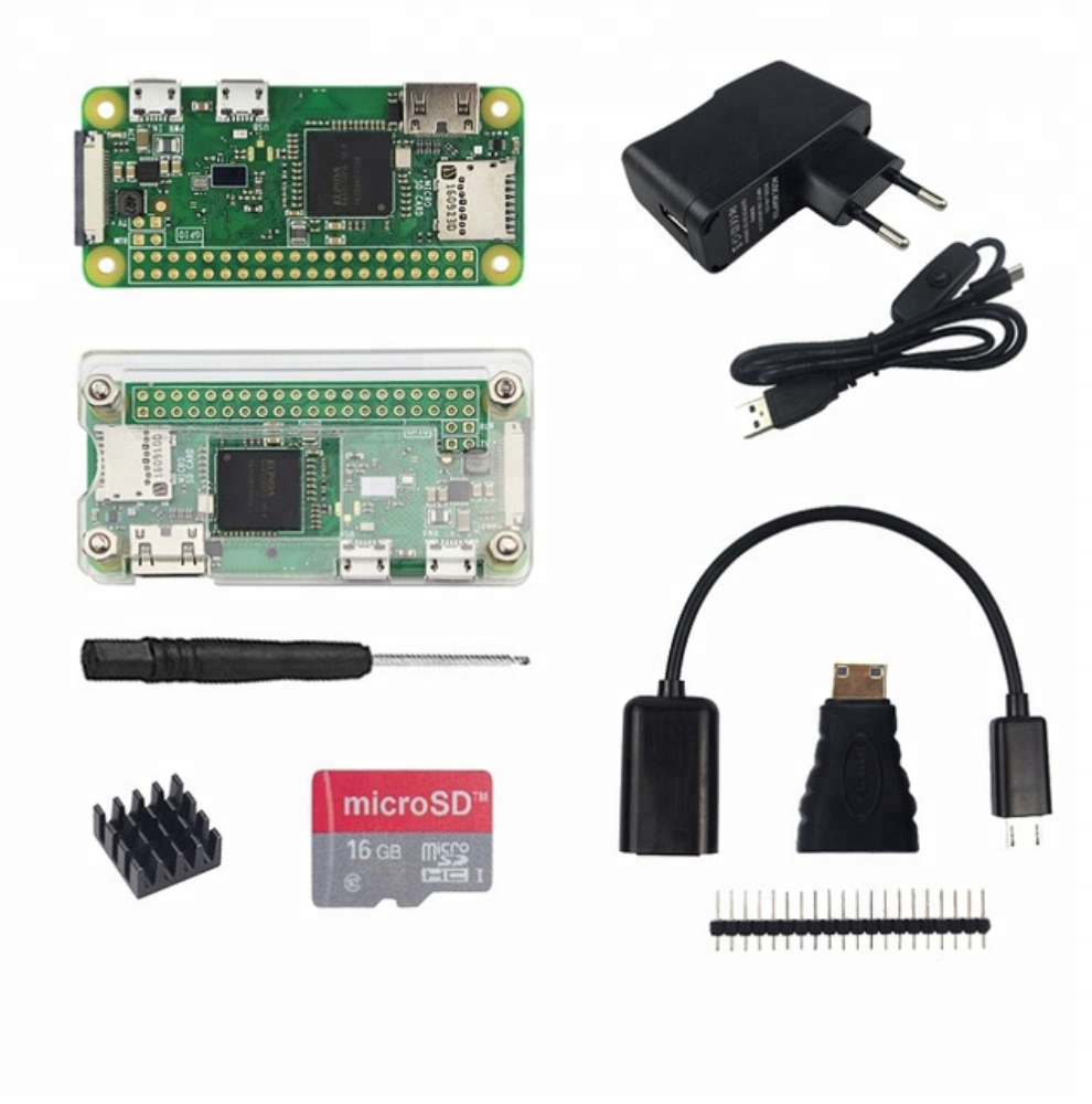 Raspberry Pi Zero <strong>W</strong> Kit +Acrylic Case +Micro OTG Cable+GPIO Header+Mini HDMI Adapter +16G SD Card + USB Cable