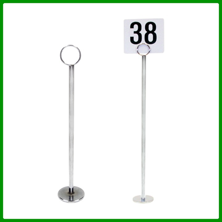 "8""~18"" Restaurant Wedding Place Metal Table Number Card Holder with Coil Sign Clip Round Base"