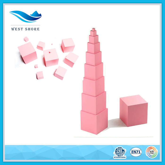 2016 Hot Sale Christmas Montessori Material Pink Tower Cheap Educational Toys For Kids