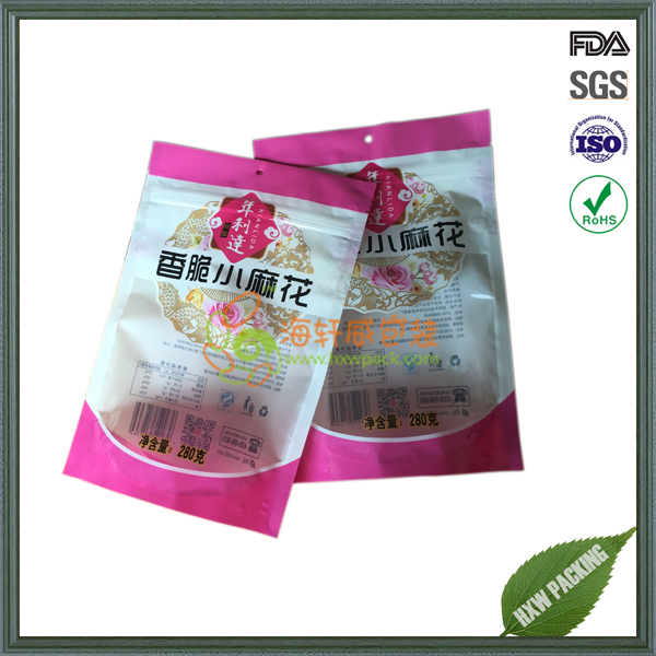 snack food package standing up plastic bag with zipper