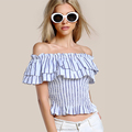 vertical striped flounce women off shoulder tops