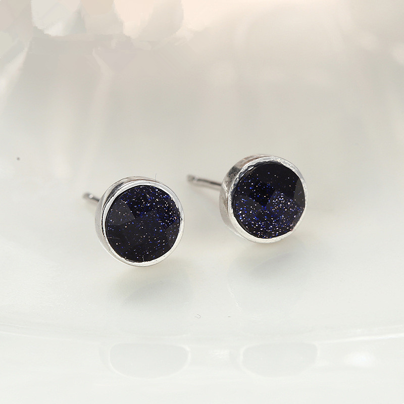 2017 New <strong>fashion</strong> 925 sterling silver black stone earrings stud for girls