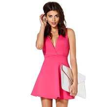 Europe and United States jing NIKA back herringbone cross straps pink sleeveless dresses bodycon dress