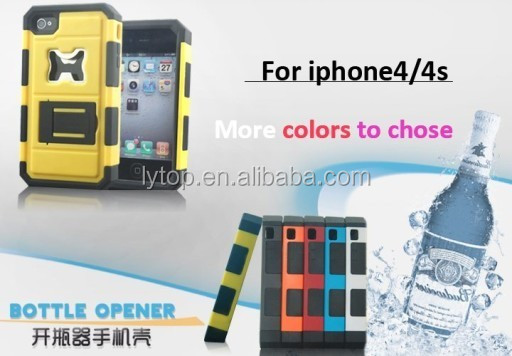 2 in 1 Bottle Opener Stand Protective Case For iPhone 4
