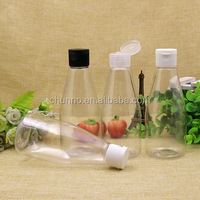 China Factory 200ml cone shape clear cosmetic water lotion plastic pump spray bottle with different cap