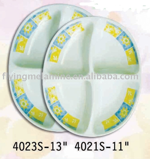 MELAMINE OVAL 4-SECTION PLATE