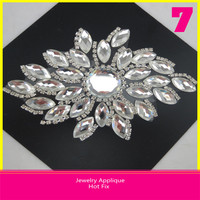 Hotfix Crystal Jewelry Applique Rice Shape Rhinestone Applique 9x13.5cm