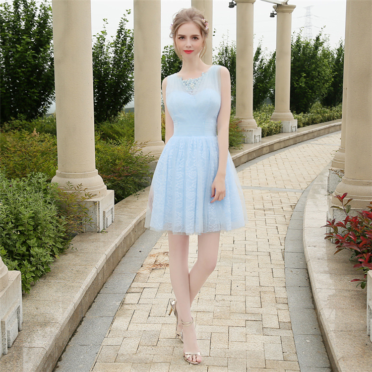 HS1614 Knee Length Short Lace Wedding Bridesmaid Dress Prom Party Dress