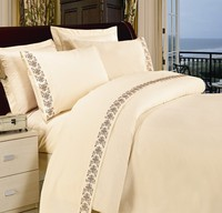 4pcs full size embroidery lace polycotton cheap export bed sheet
