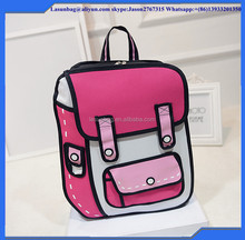 2016 Hot Sale Latest Fashion Korean 3D Backpack Cute Comics School Bags