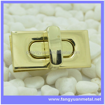 Small gold square turn lock