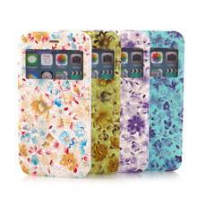 For apple iphone 6 window leather case for Girls, Flower Design Shockproof Leather Case