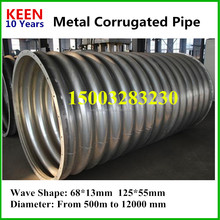 Diameter 1200mm nestable corrugated metal bridge culverts,Corrugated steel arch pipe