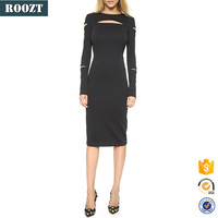New Winter Women Long Sleeve Cut Out Evening Fashion Black Dress