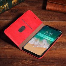 Factory Wholesale Leather Phone Case With Card Holder Red Flip Phone Case Leather