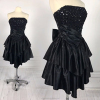MIKA2013 Black Sequin Lace Strapless Vintage Ruffle Dress