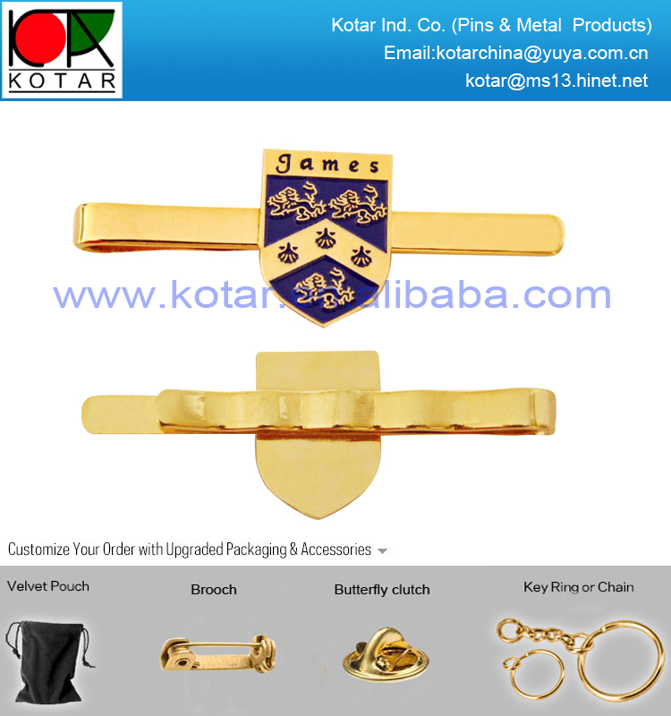 Custom shield logo metal tie clip with gold plating