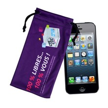 custom fashion printing drawstring indian ladies cell phone pouch
