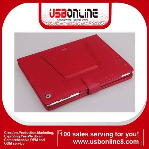 Bluetooth V 2.0 Wireless Keyboard with Leather Case for iPad2/iPad 3(red)