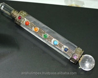 Clear Quartz Crystal Healing Stick for Metaphysical healing with 7 Chakra Stones