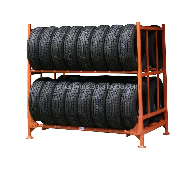 Industrial Warehouse Storage Collapsible Two Level Heavy Duty Metal Tire Storage Rack / Tyre Rack