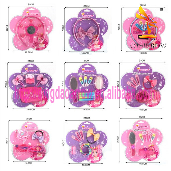 Colorful Kids Accessories for Hair Brush Set in Blister Card
