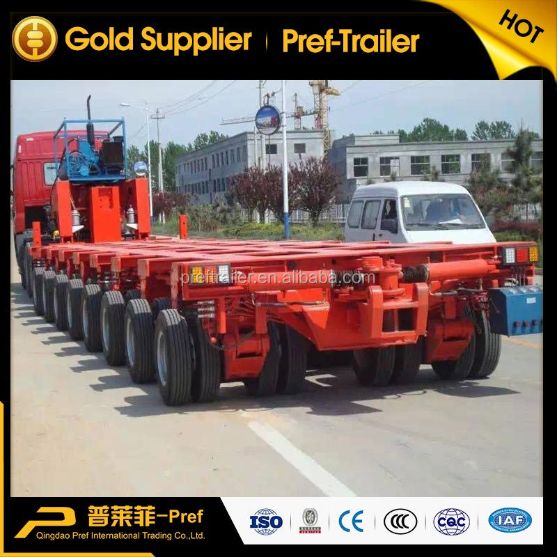 8 Rows 8 Axles - Module Trailer 200Tons Hydraulic Controlling Flatbed Modular Truck Semi Trailer