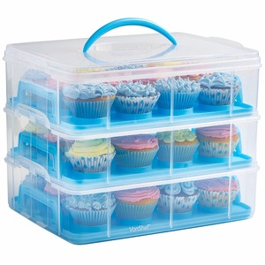 3 Layer Cupcake and Cookie 36 Large Carrier Two Tiered Holder Stack and Store Cake Carrie