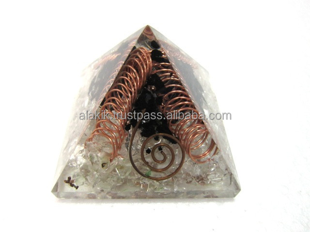Crystal Quartz Tourmaline Orgone Pyramid with coopper spring