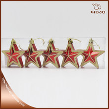 Hot sale of new design plastic Star Christmas tree decoration 4pcs or 6pcs a box