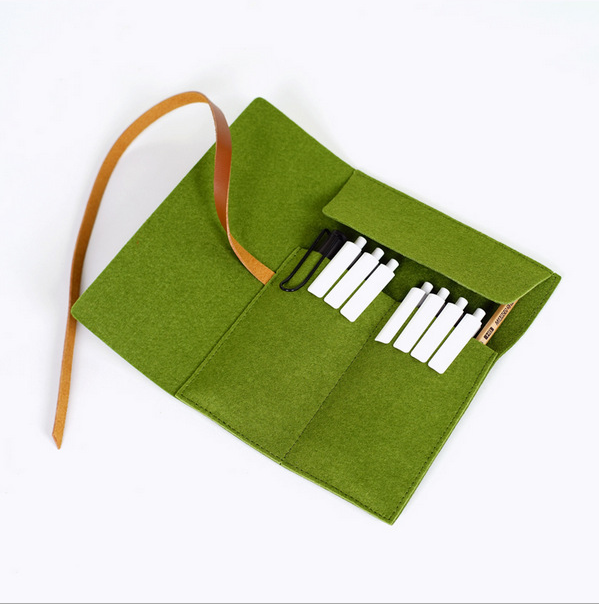 custom handmade felt pen bag hot sale roll up felt pencil bag with string