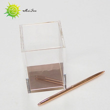 good price handmade pen container square acrylic creative design desktop pen holder with logo