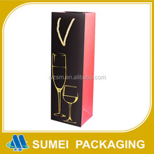 Custom made fancy paper personalized double wine bottles gift bags with handles