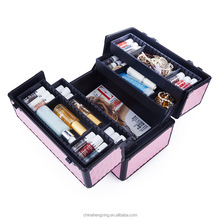 high quality professional soft-sided nylon rolling makeup case with cosmetic drawer imported cosmetic