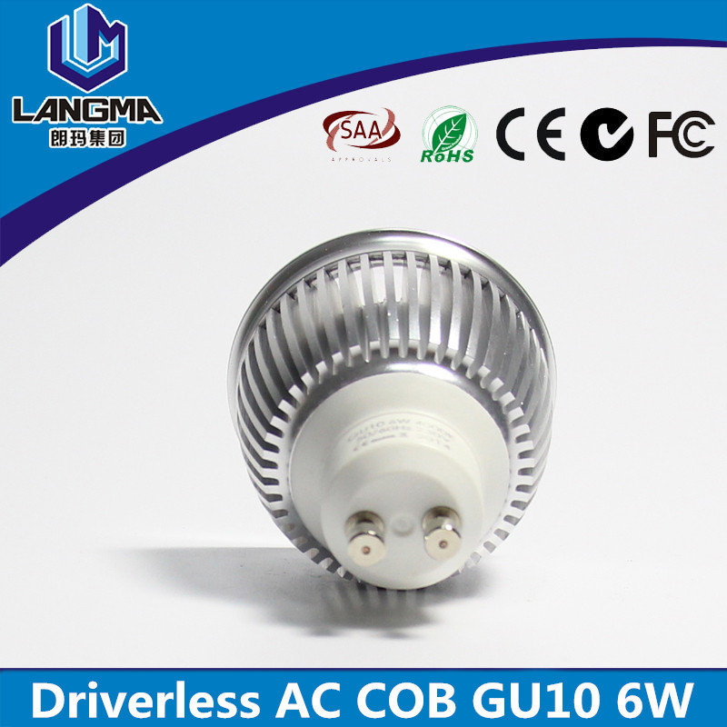 Aluminium casing 60degree 220V dimmmable 4000K 6w GU10 Spot Lighting